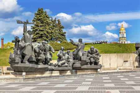 dniper: Soviet Soldiers Attacking World War 2 Crossing Dniper Monument Great Tower Lavra Great Patriotic War Museum Kiev Ukraine.  Museum founded by Soviet Union 1981