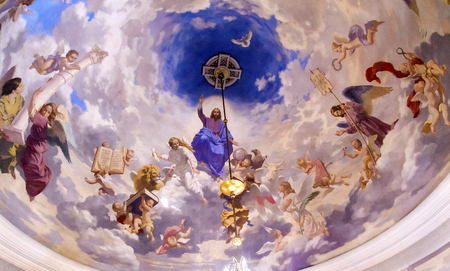 Jesus Angels Painting Ceiling Interior Church Saint Nicholas Askold's Grave Kiev Ukraine. Ukrainian Greek Catholic Church created 1810. Askold's Graveyard has many famous Ukrainians buried there.