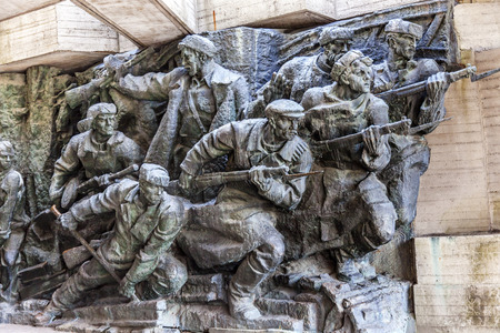 Soviet Soldiers Attacking World War 2 Monument Great Patriotic War Museum Kiev Ukraine.  Museum founded by Soviet Union 1981