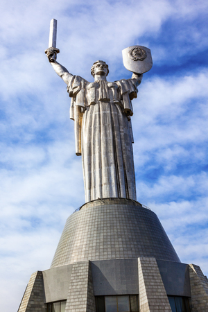 World War 2 Victory Rodina-Mat Motherland Soviet Monument Great Patriotic War Museum Kiev Ukraine.  Museum founded by Soviet Union and Statue Opened 1981 Editorial