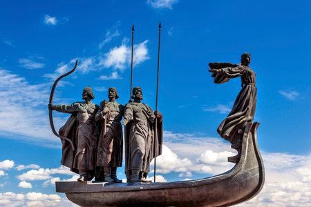 dniper: Founders Monument Dniper River Kiev Symbol Kiev Ukraine.  Prince Kiy Builder Khoriv SisterLibed Sculptor Boroday 1982