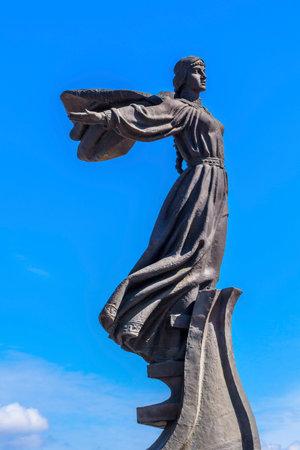 dniper: Founders Monument Dniper River Kiev Symbol Kiev Ukraine.  Sister Libed Sculptor Boroday 1982