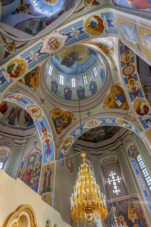 Saint George Cathedral Vydubytsky Monastery Kiev Ukraine.  Vydubytsky Monastery is the oldest functioning Orthordox Monasatery in Kiev.  The original monastery was created in the 1000s, 10th Century.
