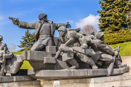 dniper: Soviet Soldiers Attacking World War 2 Crossing Dniper River Monument Great Patriotic War Museum Kiev Ukraine.  Museum founded by Soviet Union 1981