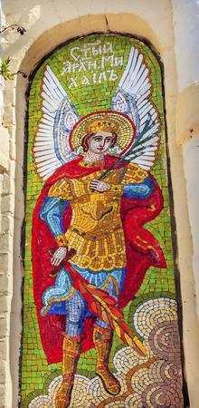 assumption: Saint Michael Angel Mosaic Holy Assumption Pechersk Lavra Cathedra Kiev Ukraine.  Oldest Ortordox Monastery In Ukraine and Russia, dating from 1051, Starting from Caves in Monastery in Kiev.