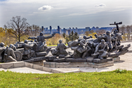 Soviet Soldiers Crossing Dniper River to Attack Kiev World War 2 Monument Great Patriotic War Museum Kiev Ukraine. Museum founded by Soviet Union 1981