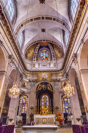 stained glass church: Basilica Stained Glass Church Saint Louis En Lile Paris France.  Saint Louis En Lile church built in Notre Dame was built in 1726 on the island in back of Nortre Dame. Editorial