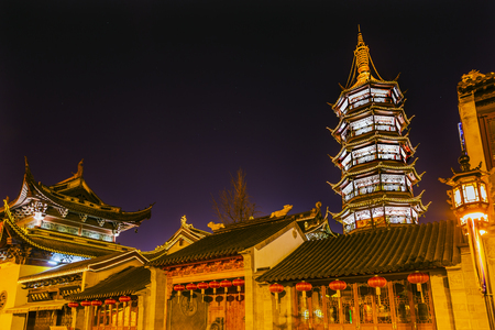 Buddhist Nanchang Nanchan Temple Pagoda Tower Wuxi Jiangsu Province, China.  Temple was established in approximately 550AD.