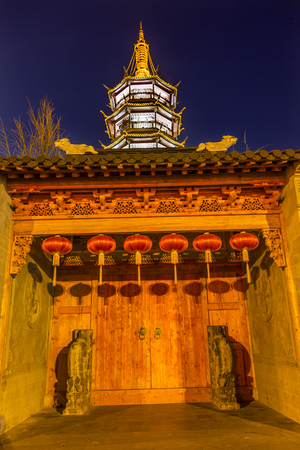 Buddhist Nanchang Nanchan Temple Wooden Door Pagoda Tower Wuxi Jiangsu Province, China.  Temple was established in approximately 550AD.