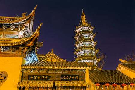 approximately: Buddhist Nanchang Nanchan Temple Pagoda Tower Stars Wuxi Jiangsu Province, China.  Temple was established in approximately 550AD. Editorial