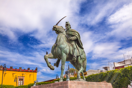 revolt: General Ignacio Allende Statue Plaza Civica San Miguel de Allende Mexico. General who first led revolt against Spain in 1810 and considered a hero of the Mexican War of Independence