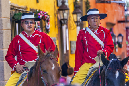 town square: Mounted Police Traditional Uniforms Jardin Town Square San Miguel de Allende Mexico. Editorial