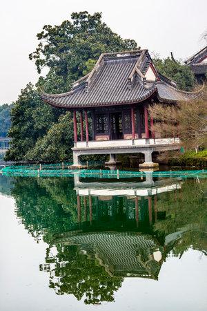 liu: Old Chinese Pavilion Liu Zhuang West Lake Hangzhou Reflection Zhejiang China .