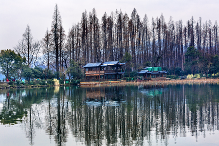 Old Chinese Pavilion Liu Zhuang West Lake Hangzhou Reflection Zhejiang China .