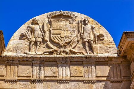 1st century: Ancient Roman Bridge Entrance Puerta del Puente Symbol Coat Arms Cordoba Spain  Roman bridge was built in the 1st Century BC.