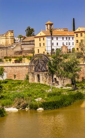 waterwheel: Ancient Waterwheel Alcazar River Guadalquivir Cordoba Spain