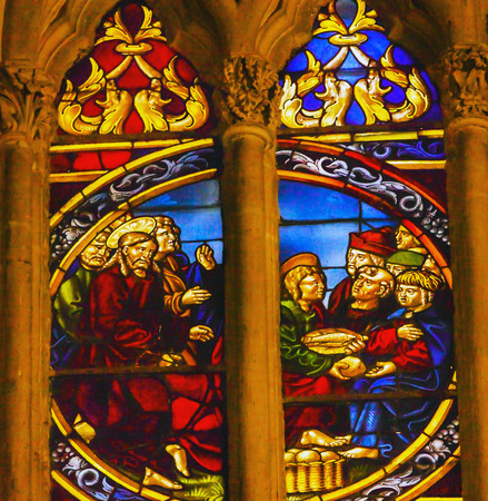 lazarus: Jesus Lazarus Stained Glass Cathedral Spanish Flag Toledo Spain.  Cathedral started in 1226 finished 1493