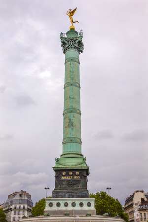 stormed: Bastile Square Place de la Bastille, famouse meeting place, Paris France.  Location of Bastile prison, which was stormed and destroyed in 1789, in the Frence Revolution.  July column commemorates events in 1789 and 1830 revolution and was inaugurated in 1
