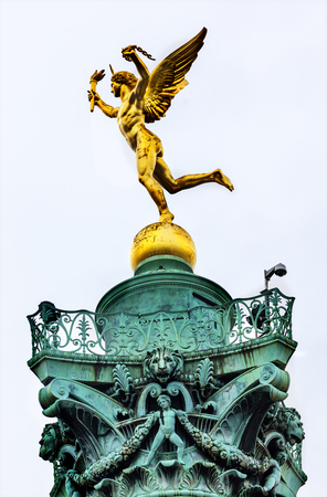 frence: Genie de La Liberty by Dumont Bastile Square Place de la Bastille, famouse meeting place, Paris France.  Location of Bastile prison, which was stormed and destroyed in 1789, in the Frence Revolution.  July column commemorates events in 1789 and 1830 revol Editorial