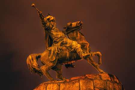 the founder: Bogdan Khmelnitsky Equestrian Statue Night Sofiyskaya Square Kiev Ukraine. Founder of Ukraine Cossack State in 1654. Statue created 1881 by Sculptor Mikhail Mykeshin