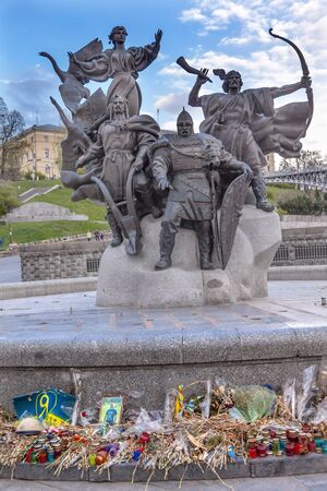 founders: Founders Monument Memorials to People Killed in Maidan Square Kiev Ukraine. Founders statue is to the famous people that founded Kiev.
