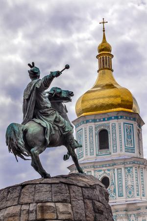 the founder: Bogdan Khmelnitsky Equestrian Statue Saint Sophhia Sofiyskaya Square Kiev Ukraine. Founder of Ukraine Cossack State in 1654. Statue created 1881 by Sculptor Mikhail Mykeshin