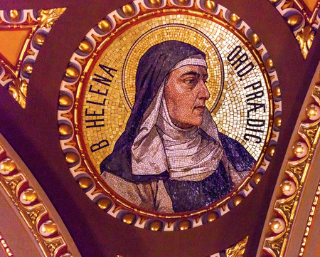 helen: Helen of Hungary, Queen of Croatia, Mosaic Basilica Saint Stephens Cathedral Budapest Hungary.  Cathedral built in the 1800s and consecrated in 1905.  Saint Hedwig was daughter of King Louis 1 of Hungary.  She became the Queen of Poland.