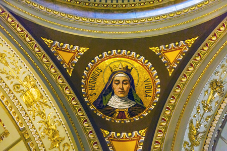 Saint Hedwig Mosaic Basilica Saint Stephens Cathedral Budapest Hungary.  Cathedral built in the 1800s and consecrated in 1905.  Saint Hedwig was daughter of King Louis 1 of Hungary.  She became the Queen of Poland. Editorial