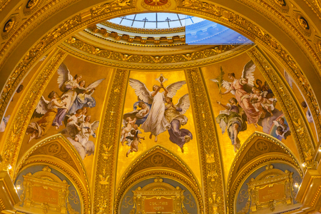 consecrated: Angels Mosaics Basilica Arch Saint Stephens Cathedral Budapest Hungary.  Saint Stephens named after King Stephens who brought Christianity to Hungary.  Cathedral built in the 1800s and consecrated in 1905.