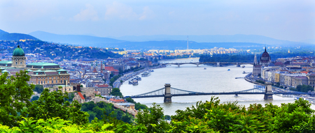 Buda Palace Parliament Chain Bridge  Budapest Hungary View from Citadel Stock Photo