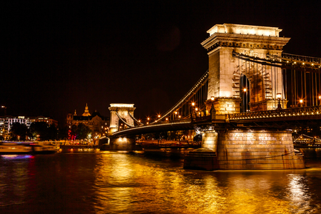 Chain Bridge Saint Stephens Danube River Reflection Budapest Hungary