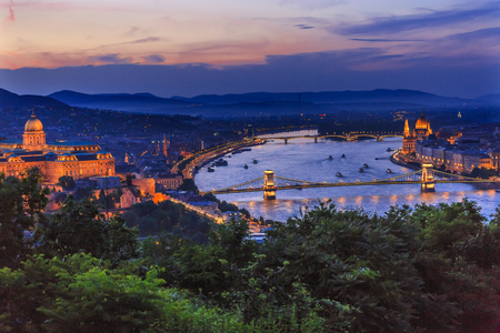 european culture: Buda Palace Parliament Chain Bridge Danube River Boats Night Budapest Hungary Night View from Citadel