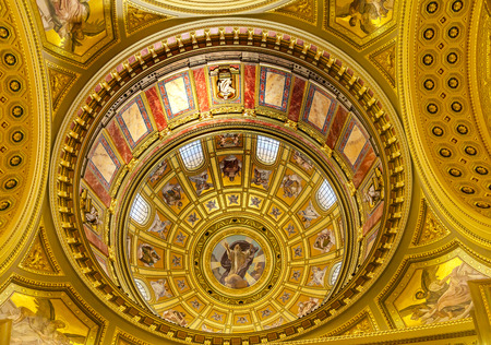 Dome God Christ Basilica Arch Saint Stephens Cathedral Budapest Hungary.  Saint Stephens named after King Stephens who brought Christianity to Hungary.  Cathedral built in the 1800s and consecrated in 1905.