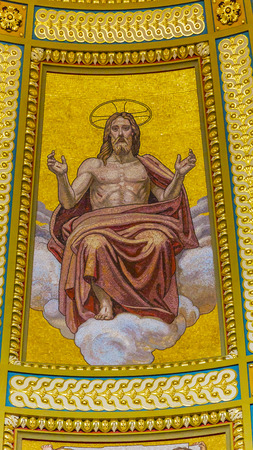 consecrated: Christ Mosaic Dome Basilica Saint Stephens Cathedral Budapest Hungary.  Saint Stephens named after King Stephens who brought Christianity to Hungary.  Cathedral built in the 1800s and consecrated in 1905. Editorial