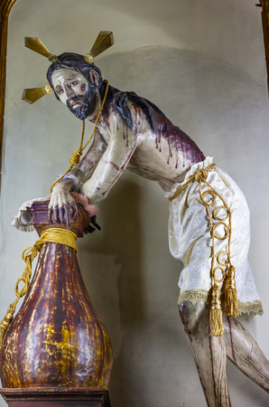 Senor de la Columna Jesus Whipped Sanctuary of Jesus Atotonilco Mexico. Built in the 1700s known as the Sistene Chapel of Mexico with Frescoes of Jesus Stories.  Frescoes by Miguel Antonio Matinez between 1740 and 1775. Editorial