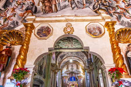 Frescoes Sanctuary of Jesus Atotonilco Mexico. Built in the 1700s known as the Sistene Chapel of Mexico with Frescoes of Jesus Stories.  Frescoes by Miguel Antonio Matinez between 1740 and 1775.