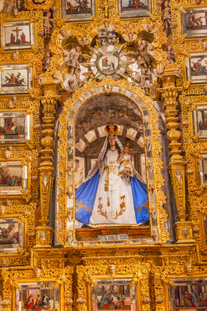 new testament: Mary Statue Golden Wall Sanctuary of Jesus Atotonilco Mexico. Built in the 1700s known as the Sistene Chapel of Mexico with Frescoes of Jesus Stories.  Frescoes by Miguel Antonio Matinez between 1740 and 1775.
