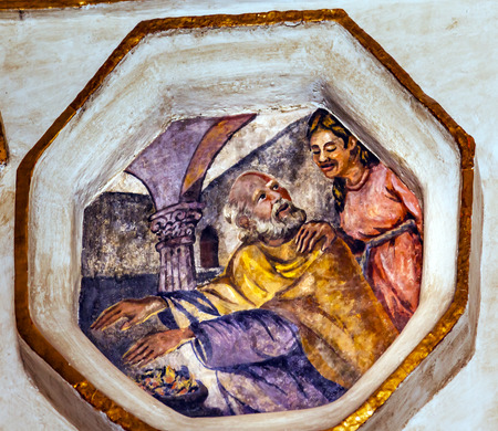 Saint Valentine Warming Hands Patron Saint Against Cancer Fresco Sanctuary of Jesus Atotonilco Mexico. Built in the 1700s known as the Sistene Chapel of Mexico with Frescoes of Jesus Stories.  Frescoes by Miguel Antonio Matinez between 1740 and 1775. Editorial