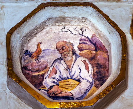 denying: Peter Denying Jesus Before Rooster Crows Fresco Sanctuary of Jesus Atotonilco Mexico. Built in the 1700s known as the Sistene Chapel of Mexico with Frescoes of Jesus Stories.  Frescoes by Miguel Antonio Matinez between 1740 and 1775. Editorial
