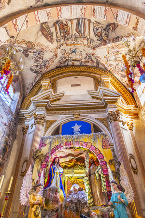 creche: Creche Christmas Decorations Frescoes Sanctuary of Jesus Atotonilco Mexico. Built in the 1700s known as the Sistene Chapel of Mexico with Frescoes of Jesus Stories.  Frescoes by Miguel Antonio Matinez between 1740 and 1775.