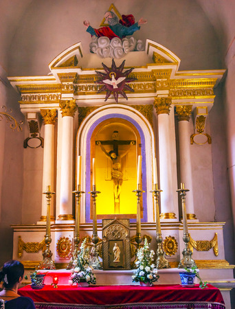 new testament: Jesue Crucifixion Cross Sanctuary of Jesus Atotonilco Mexico. Built in the 1700s known as the Sistene Chapel of Mexico with Frescoes of Jesus Stories.  Frescoes by Miguel Antonio Matinez between 1740 and 1775.