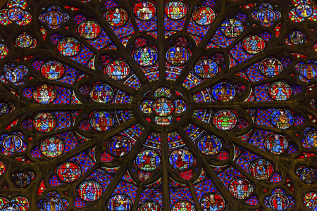 disciples: South Rose Window VJesus Disciples Stained Glass Notre Dame Cathedral Paris France.  Notre Dame was built between 1163 and 1250 AD.