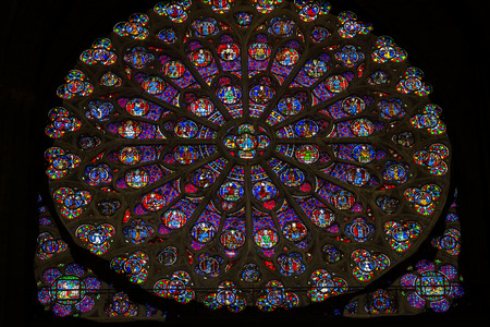 South Rose Window VJesus Disciples Stained Glass Notre Dame Cathedral Paris France.  Notre Dame was built between 1163 and 1250 AD.