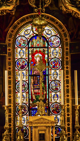 craftmanship: Altar Crucifix King Louis 9th Stained Glass Basilica Saint Louis En Lile Church Paris France. Saint Louis En Lile church built in Notre Dame was built in 1726 on the island in back of Nortre Dame.