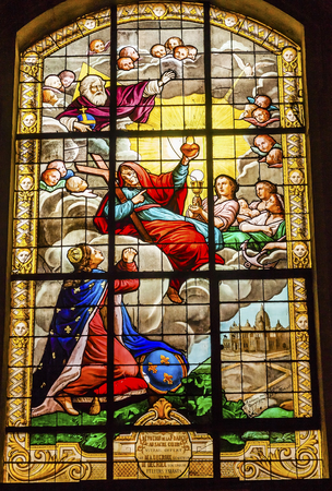 stained glass church: Basilica  Kiing Christ Sacret Heart Stained Glass Church Saint Louis En Lile Church Paris France.  Saint Louis En Lile church built in Notre Dame was built in 1726 on the island in back of Nortre Dame.