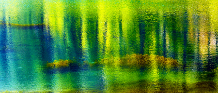 reflect: Yellow Blue Green Summer Colors Water Reflection Abstract Wenatchee River Leavenworth Washington