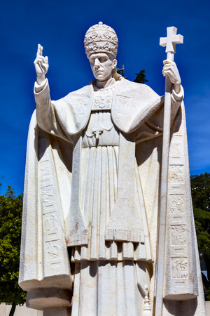 pius: Pope Pius XII Statue Basilica of Lady of Rosary Fatima Portugal. Church created on site where three Portuguese Shepherd children saw Virgin Mary of the Rosary.  Basilica created in 1953. Statue erected in 1961. Editorial