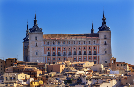 Alcazar Fortress Medieval City Toledo Spain.  Alcazar built in the 1500s, Destroyed in Spanish Civil War and then rebuilt after war. Unesco historical site