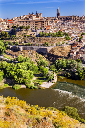 Churches Cathedral Medieval City Tagus River Toledo Spain.  Unesco historical site; Tagus is longest river in Spain. Stock Photo