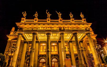 Juarez Theater Teatro Juarez Facade Statues Night Guanajuato Mexico Editorial
